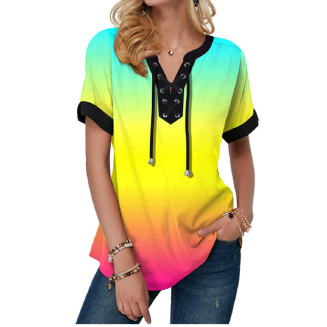 New Summer Women Blouses 3D Print Tie Dye Gradient Tops Casual Short Sleeve V-Neck Lace Up Oversize Shirt 5XL Loose Tops 2