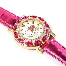 Fashion Brand Quartz Watch Children Girl Women Leather Crystal Wrist Wa