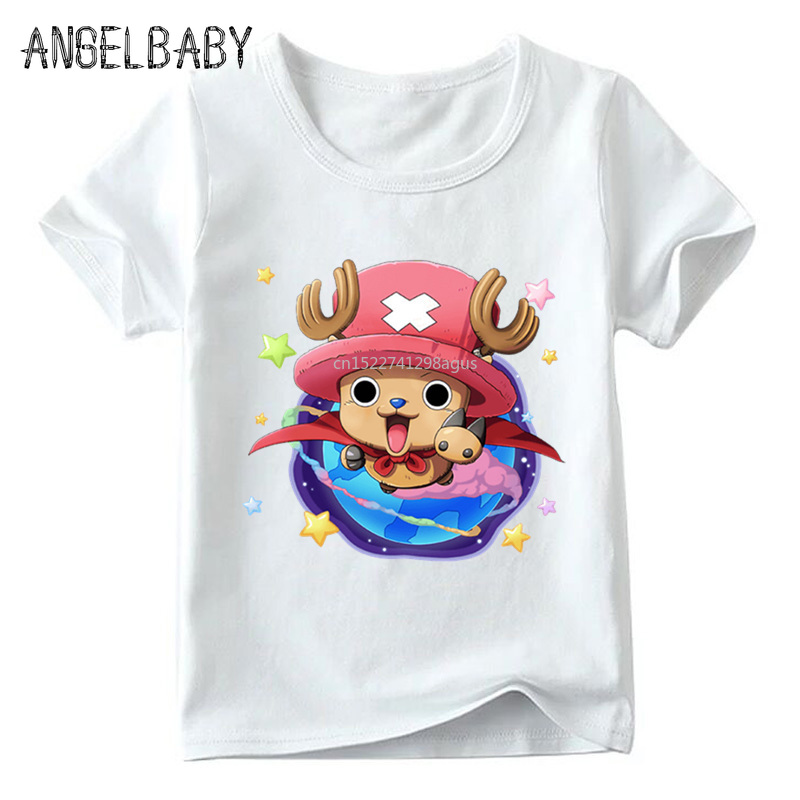 Children Anime One Piece Tony Chopper Print Funny T shirt Boys and Girls Summer White Tops Kids Cartoon T-shirt 1