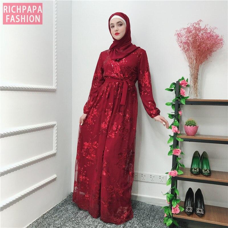 Image 3 - Рамадан блесток кружевная Абая Дубай, Турция Ислам Мусульманский хиджаб платье Кафтан Абая для женщин Jilbab Caftan одежда Qatar Elbise RobeМусульманская одежда    АлиЭкспресс