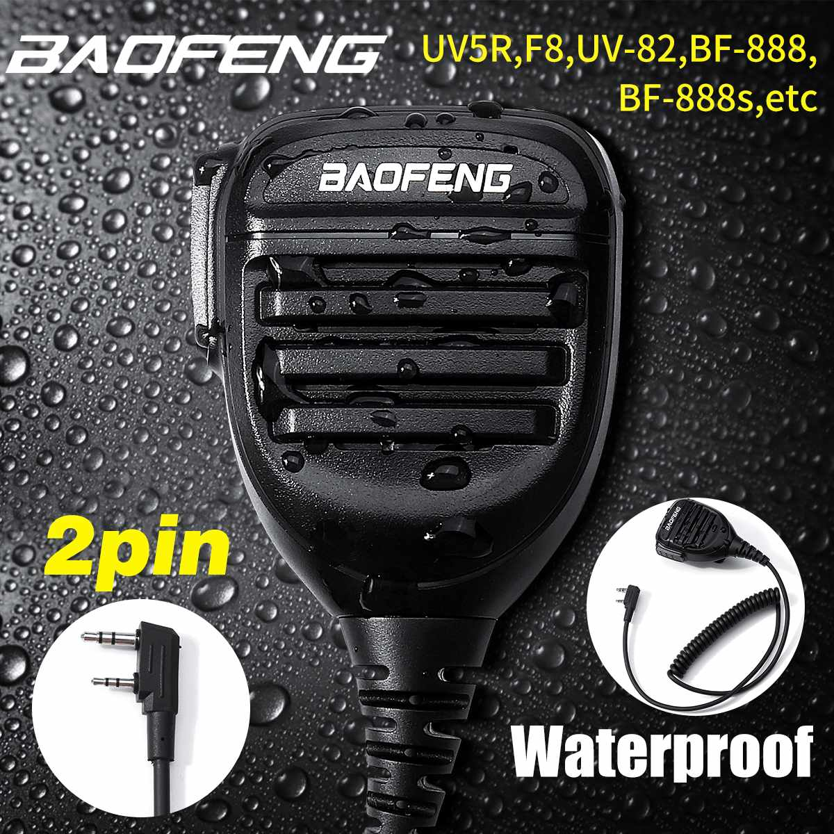 New 2020 BaoFeng 2 Pin Waterproof Handheld Microphone Speaker Mic For Baofeng Walkie Talkie UV5R,UV-82,DM-5R Plus,BF-888s Radio
