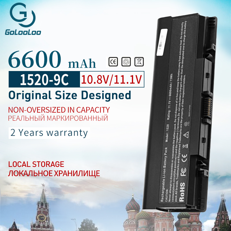 Golooloo 11.1V 6600mAH 9 cell <font><b>Battery</b></font> For <font><b>dell</b></font> <font><b>Inspiron</b></font> 1520 1521 <font><b>1720</b></font> 1721 530s 0GR99 312-0504 312-0513 312-0518 312-0520 image