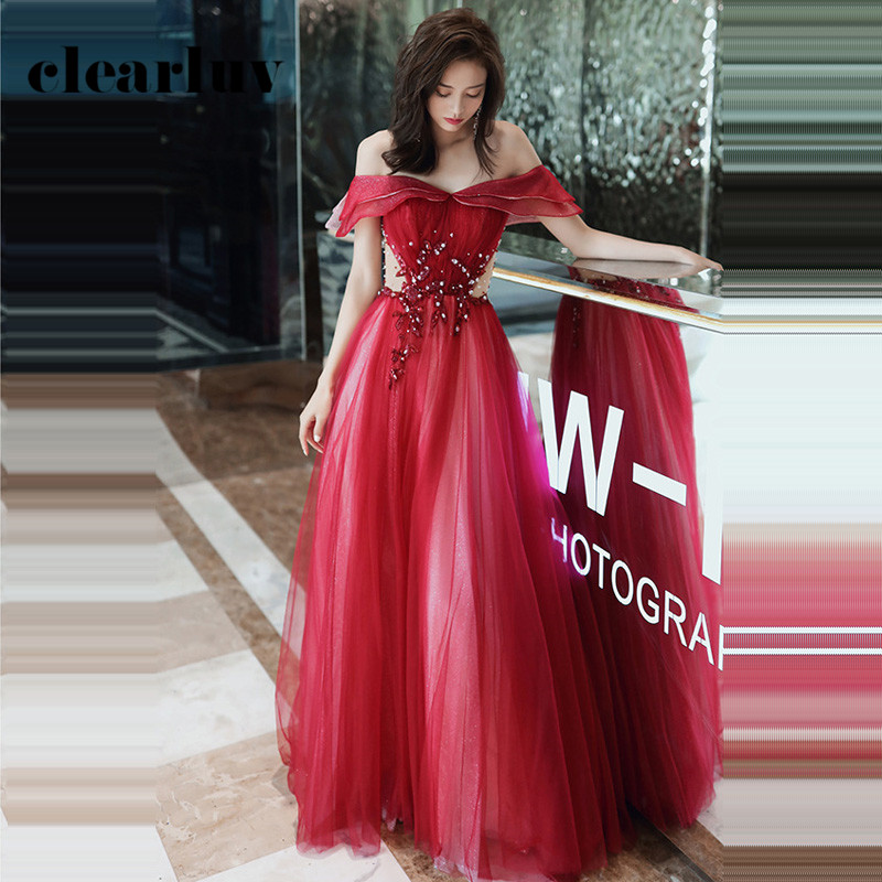 Red A-Line Party Dress R271 Sexy Boat Neck Formal Evening Dresses For Women Sequin Beading Elegant Gown Off The Shoulder Vestido