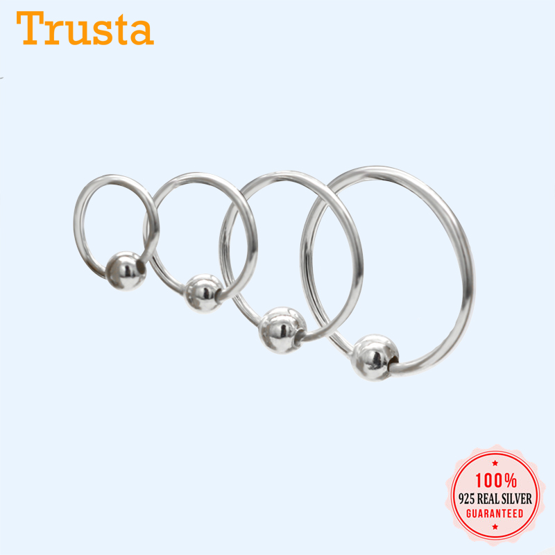 925 STERLING SILVER 12mm HOOP EARRINGS WITH BALL BEAD SMALL SOLID STUD NOSE RING