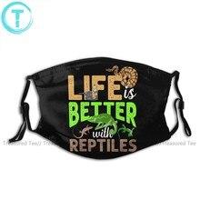 Camaleón-mascarilla Facial con 2 filtros para adultos, mascarilla Facial de vida mejor con Reptiles, Kawai