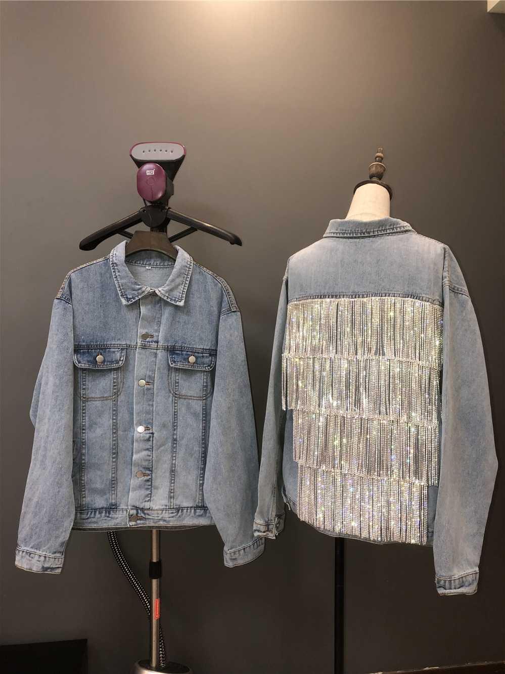 Hohe-Dichte Kette Quaste Strass Denim Jacke Frau 2020 Frühling Herbst Diamant Jean Jacke Damen Streetwear Verzierte Mantel