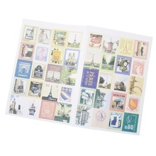 4 pcs/lot British Memory Cartoon Four Fold Stamp Sticker Notebook Bullet Journal Stickers Custom Stationery
