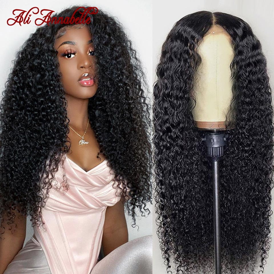 Lace Front Human Hair Wigs With Baby Hair Brazilian Curly Human Hair Wig 13x4 13x6 Human Hair Wigs ALI ANNABELLE Kinky Curly Wig
