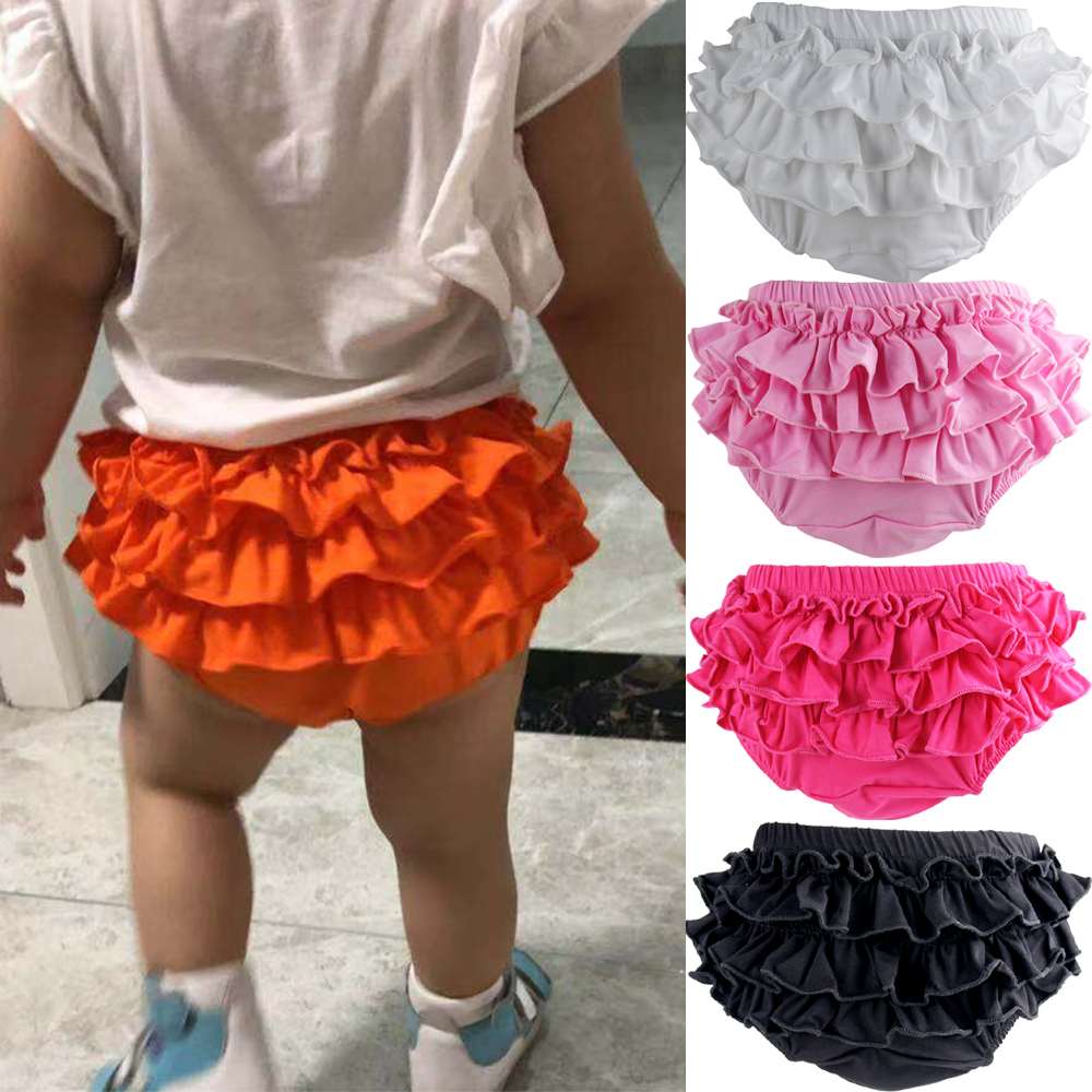 Baby Cotton Ruffle Bloomers Shorts Cute Baby Diaper Cover Newborn Candy Shorts Toddler Fashion Summer Soft Pants Ruffle Bloomers