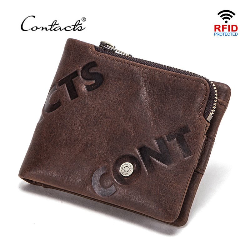 CONTACT'S 100% Genuine Leather Wallet Men Small Card Holder Portfolio Zipper Coin Purse Wallets Mini Money Bags RFID Blocking