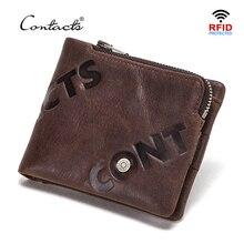 CONTACTS 100% prawdziwej skóry portfel mężczyźni małe etui na karty portfel zamek monety kiesy portfele Mini worki na pieniądze RFID blokowanie
