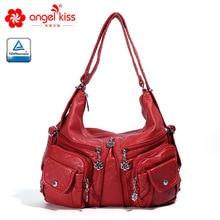 Angelkiss Женская мода высокое качество промытый из искусственной кожи мотоцикл большой сумки на плечо мульти карман леди стильная сумка через плечо