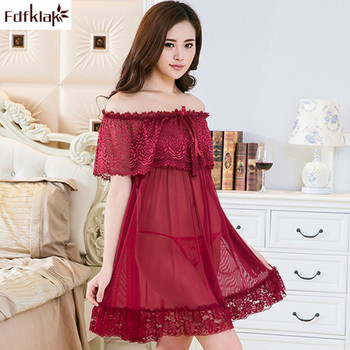 Fdfklak Mesh Lace Ruffle Night Dress Women Sexy Perspective Open Back Nightgowns Plus Size Nightwear Lingerie Sleepwear 6 Color solid color open back lace up sexy halter denim dress for women