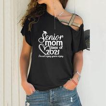 Pós-graduação Sênior Mãe de Classe de 2021 Presente Do Amante Tops Punk Inclinação Solta T-shirt Mulheres Tshirt Irregular Neck Bandage Cruz T-shirt