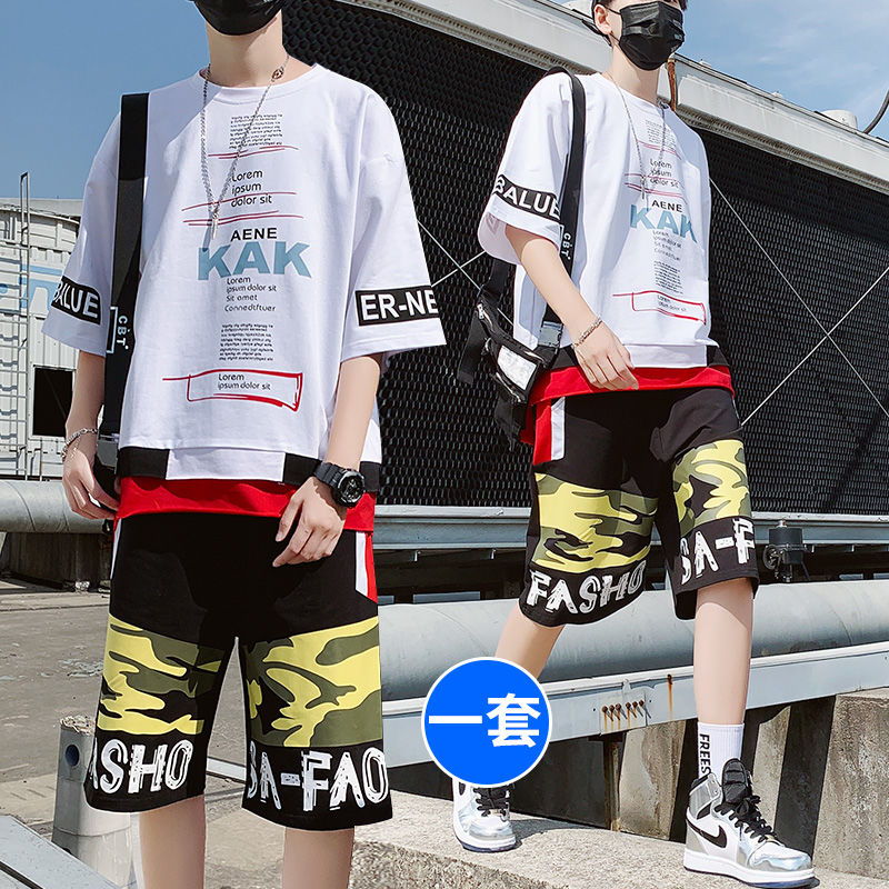 2020 New Boys Suit Summer Students Korean Style Of The Trend Of Youth Sports Casual Short-sleeved Shorts Handsome Clothes