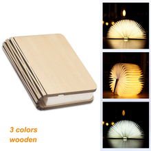 3D Creative LED Book Light 3 Colors Wooden Lamp Portable Night 5V USB Rechargeable Reading Desk Table Room Decor