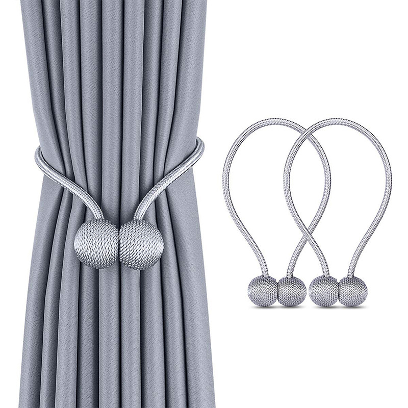 Gray 2pcs Ball Magnetic Curtain Buckle Holder Tieback Clips Window Accessories