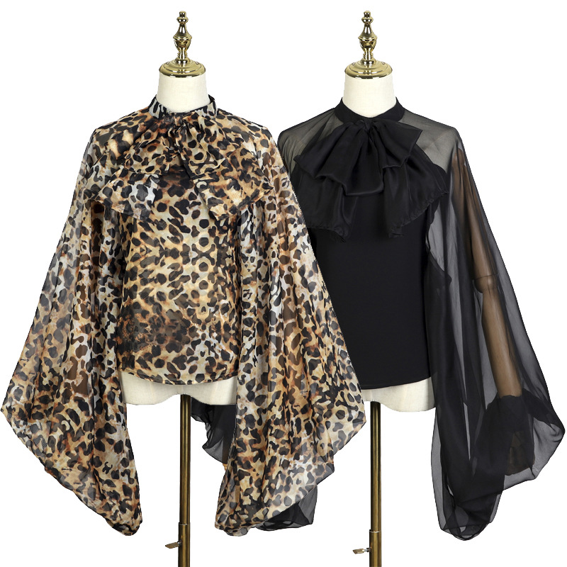 Grande taille imprimé léopard automne Flare manches en mousseline de soie femmes chemises arc rétro décontracté lâche femme automne hauts chemise