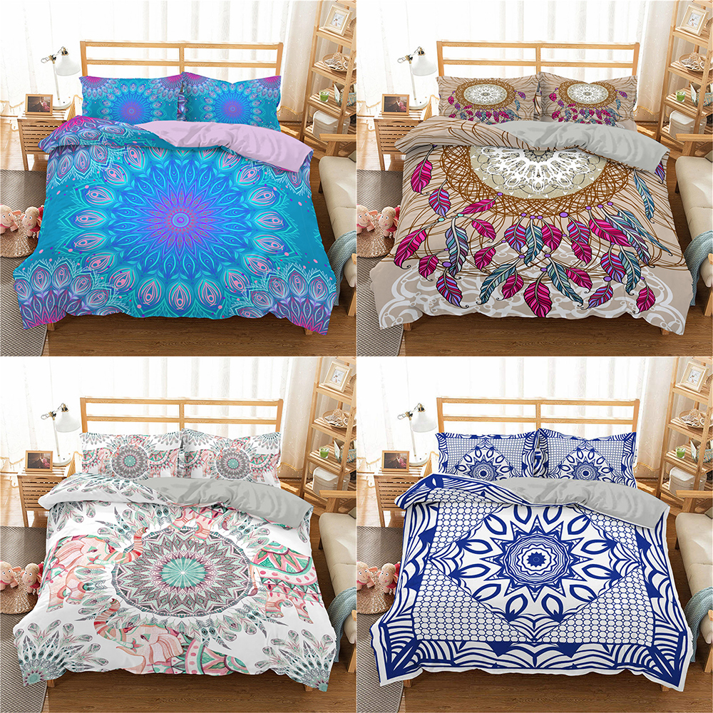 Homesky Mandala Bedding Set Duvet Cover King Queen Comforter Bedding Set Bohemia Style Microfiber 3/4pcs Bed Set
