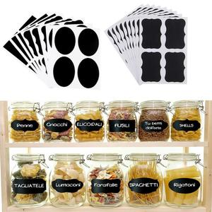 36/40pcs Spice Labels Stickers Kitchen Waterproof Bottles Jam Jar Label Stickers Organizer Chalkboard Wall Sticker Black Tags