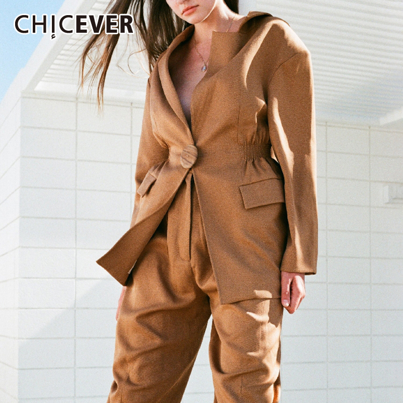 CHICEVER Summer Solid V Neck Coat For Women Notched Collar Long Sleeve Button OL Blazer Coats Female Fashion New Clothes 2019
