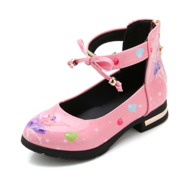 Children Infant Kids Shoes Baby Girls Party Leather Shoes Cartoon Heart Bowknot Zip Single Princess Shoes For Girls Dress Shoes