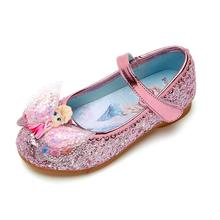 Shoes Elsa Frozen Disney Heels Baby Kids Girls Bow Flat Dances Soft-Bottom Lovely