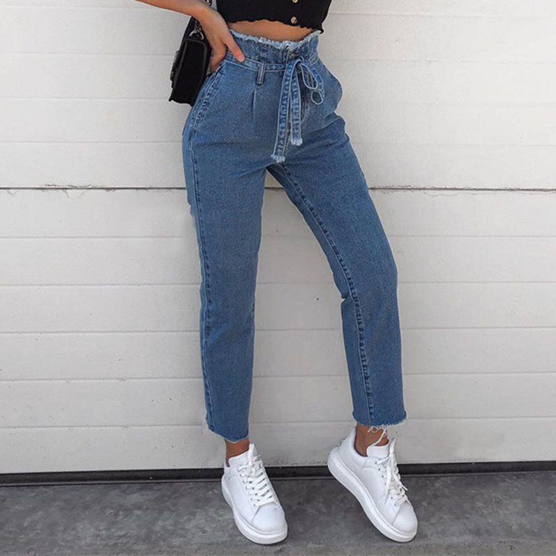 High Waist Jeans Women Vintage Chic Skinny Pencil Pants Femme Denim Casual Streetwear Fashion Female Trousers Black Blue S 3XL in Jeans from Women 39 s Clothing