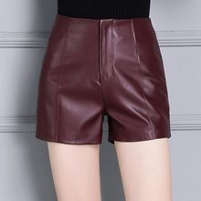 Skinny High Waist Womens Shorts Genuine Leather Motorcycle Trousers Female Office Ladies Casual Slim Fit Shorts Plus Size S-4XL(China)