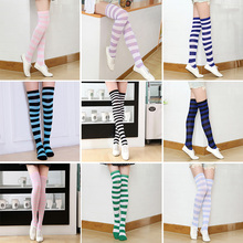 Fashion womens striped Stockings Casual Cotton Thigh Over Knee High Cheer Squad colored Female Long stockings