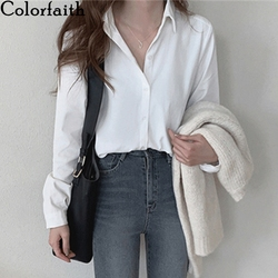 Colorfaith New 2020 Women Autumn Winter Blouse Shirts Casual Oversize Elegant Solid Fashionable Office Lady Wild Tops BL3277