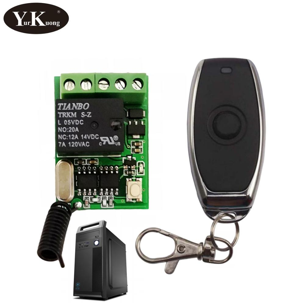 Computer On Off Button Remote Control Switch 5V 6V 9V 12V Relay Contact Push Button RF Wireless Switch 315 433 Smart Home Alarm