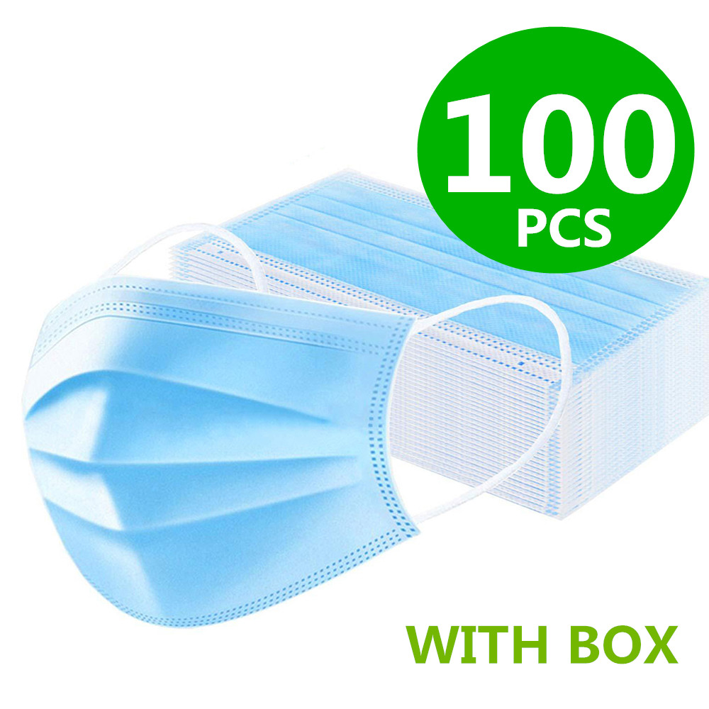 H48ce7f09d1ad4a958dabe4808da5f8e86 100Pcs Medical Surgical Mask Face Mask Anti Dust Mouth Filter Anti Bacterial Disposable Mask 3-Layers Protective Baby Adult Mask