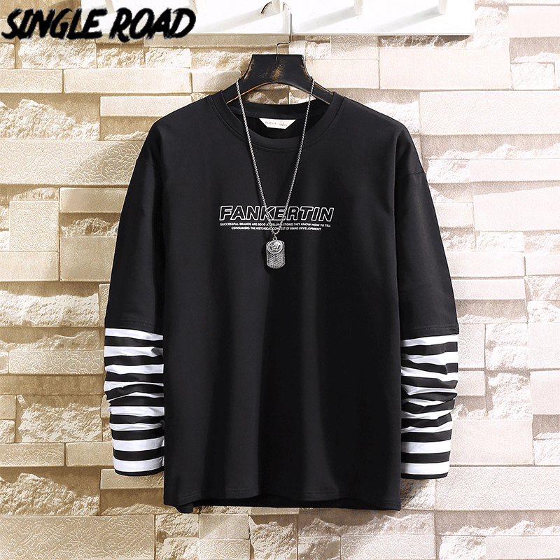 SingleRoad Men's Crewneck Sweatshirt Men Spring Patchwork Striped Japanese Streetwear Hip Hop Sweatshirt Male Black Hoodies Men