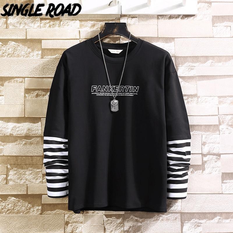 SingleRoad Men's Crewneck Sweatshirt Men Spring Patchwork Striped Japanese Streetwear Hip Hop Sweatshirt Male Black Hoodies Men