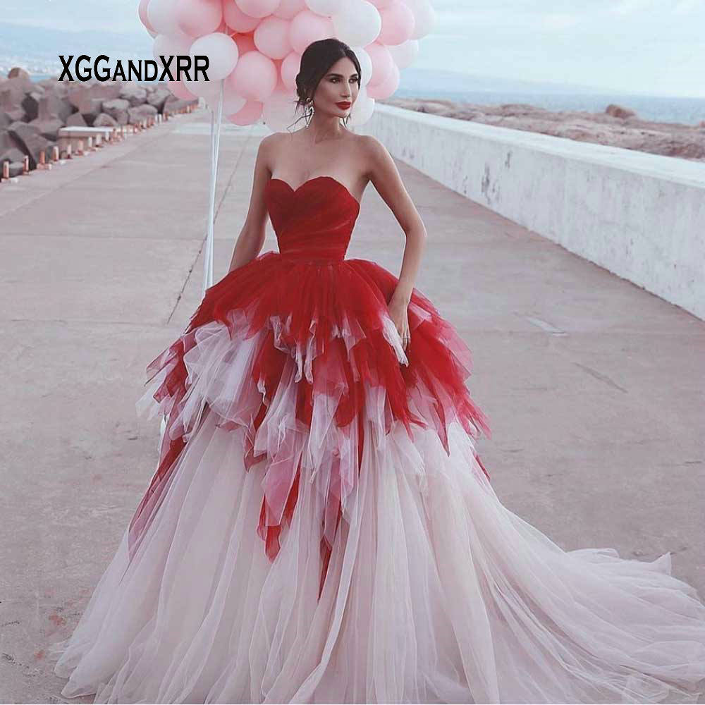 Amazing Ball Gown Prom Dress 2019 Sweetheart Sexy Backless Red Top Long Court Train Vestidos De