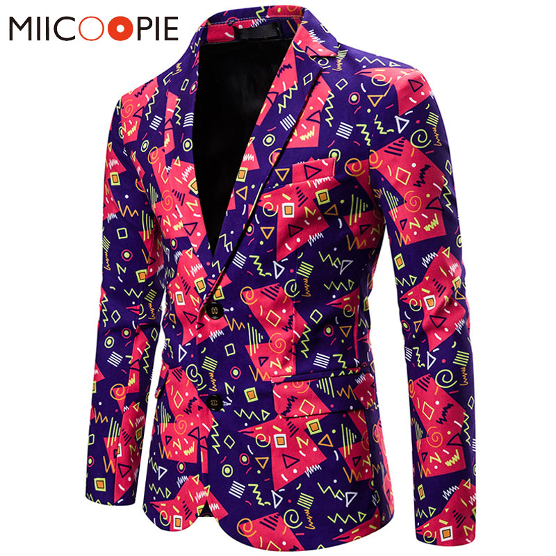 High Quality Mens Suit Coat Fashion Christmas Series Geometric 3D Print Blazer Men Jackets Casual Party Slim Fit Blazer Homme