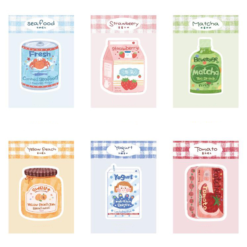 Kawaii Yogurt Peach Jam Strawberry Milk Memo Pads Decorative Paper Sticker Self-Adhesive Sticky Notes For Books, Planner
