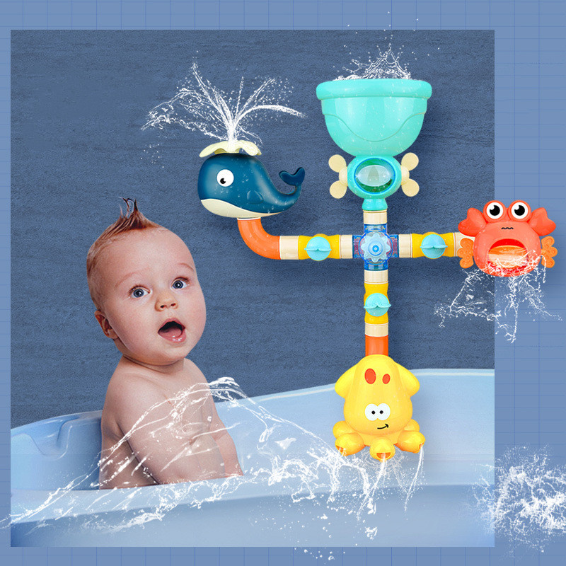 Bath Baby Shower-Game Octopus Crab Water-Spray Shark Pipeline Swim Kids Children