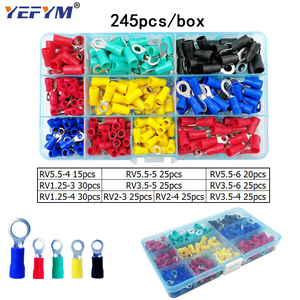 Image 2 - Box assorted full insulated fork U type set terminals connectors assortment kit electrical wire crimp spade ring terminal