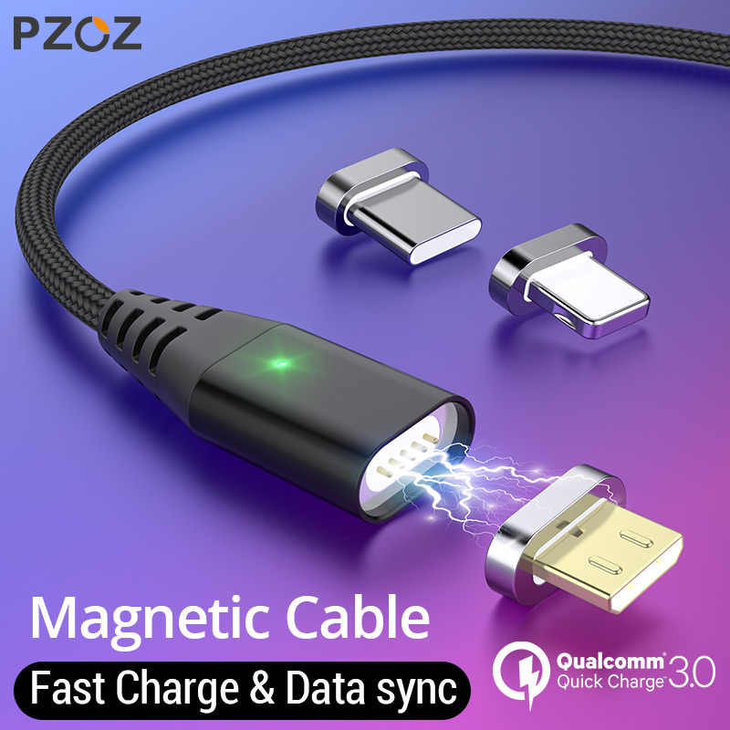 PZOZ 1M 2M Magnetic Cable Micro usb Type C Fast Charging Microusb Type-C Magnet Charger Wire usb c For iphone 11 X Xr usb cable