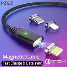 PZOZ 1M 2M Magnetic Cable Micro usb Type C Fast Charging Mic