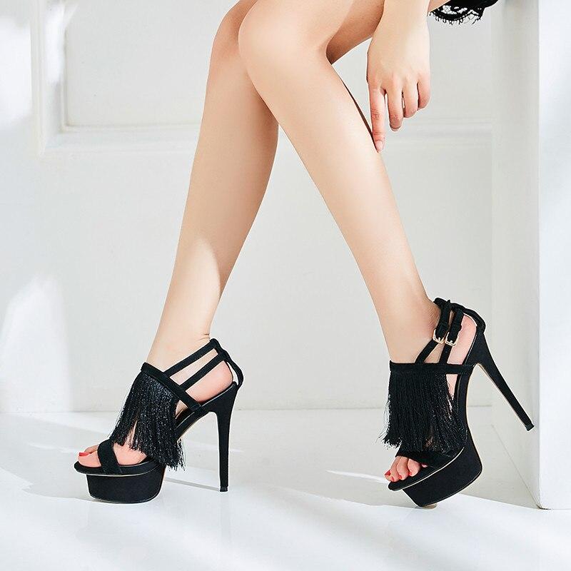 YECHNE Women Fringe High Hooks Sandals Plus Size Leather Peep Teen Shoes Sexy Black Open Teen Hooks Platform Sandals