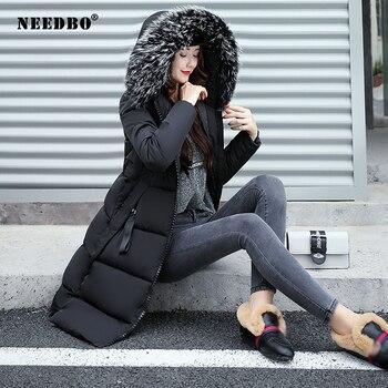 NEEDBO Winter Jacket Women Fur Collar Long Parka Warm Slim Winter Coat Woman Puffer Jacket