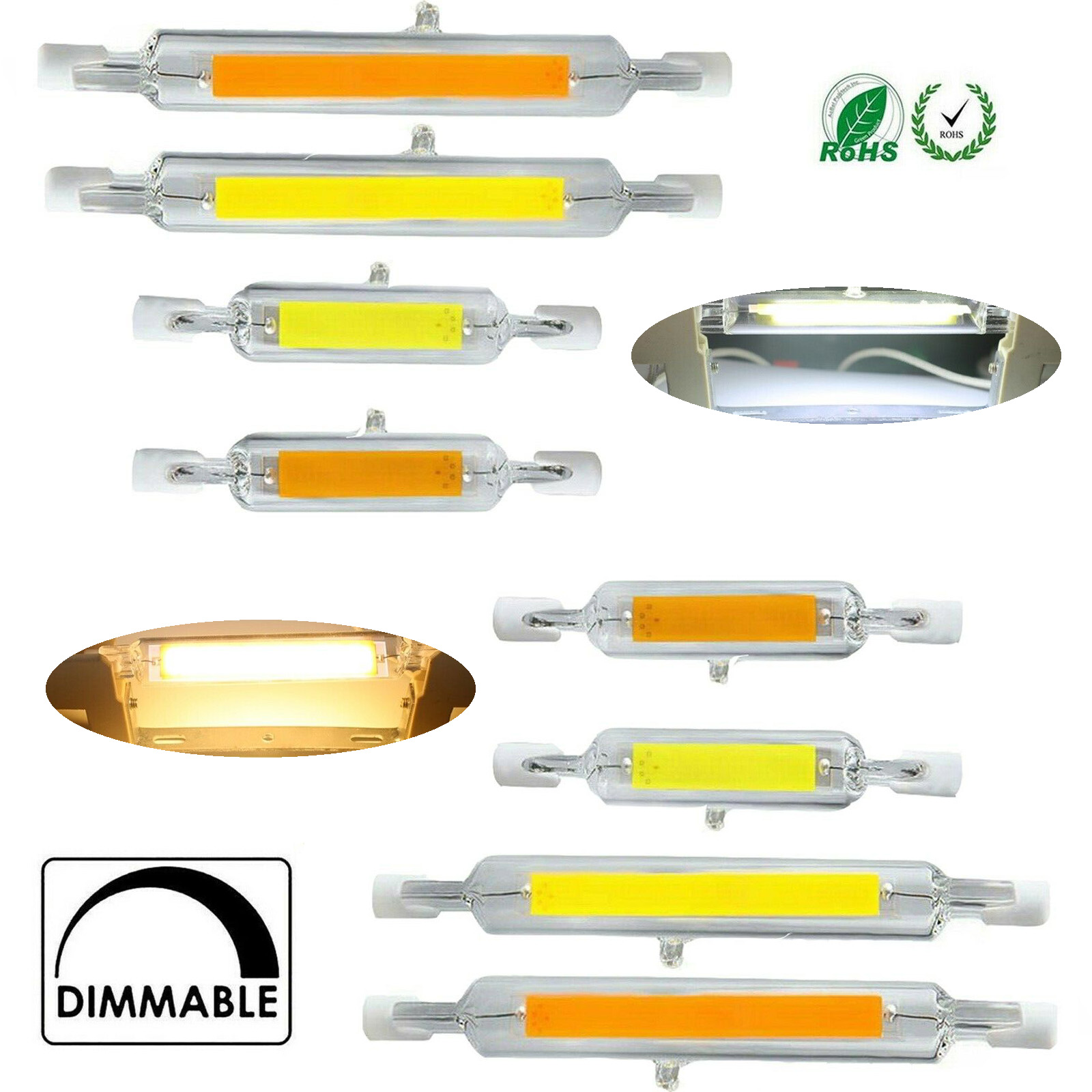 15x <font><b>R7s</b></font> <font><b>LED</b></font> Floodlight 78mm <font><b>118mm</b></font> 12W 15W 25W Dimmable COB Bulb Ceramic Glass Tube Light Ampoule Replacement Halogen <font><b>Bombillas</b></font> image