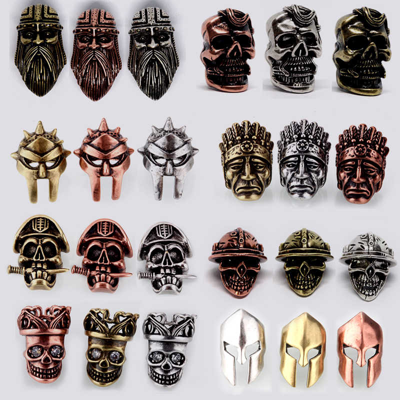 rope mask Pendant beads helmet Beads Metal Antique Silver Gold or Bronze  Charms For Paracord Bracelet beads for jewelry making