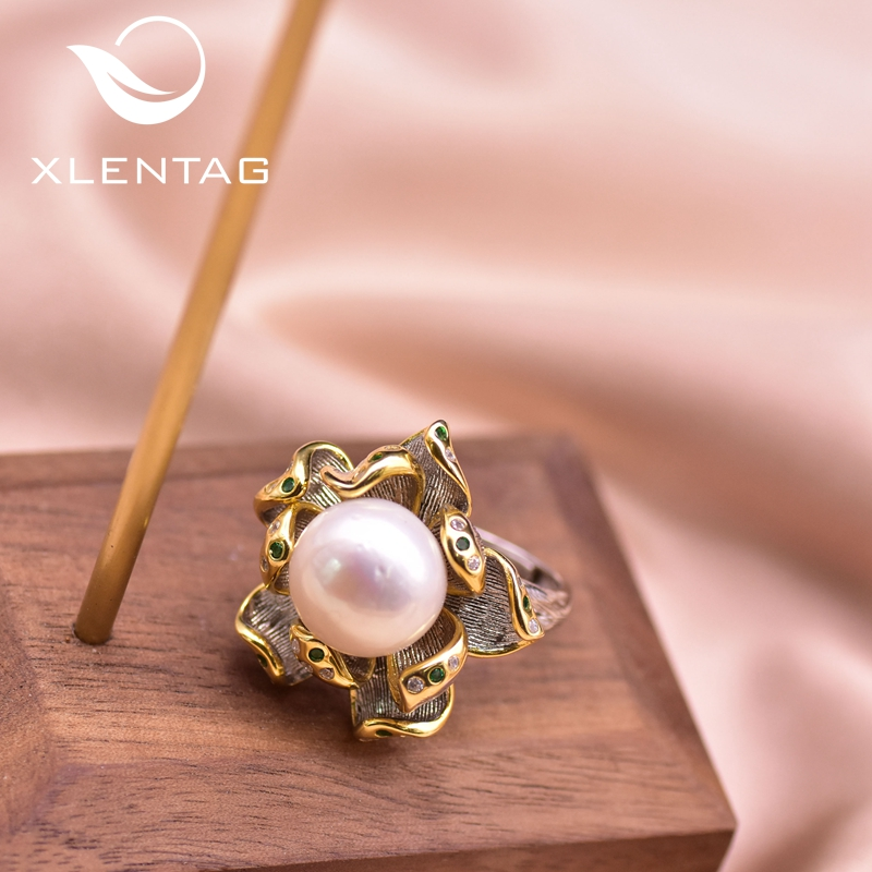 XlentAg Natural Pearl Plant Bohemian Ring Fashion Jewelry For Party Girls Women Vintage Luxury Gift Silver Color Handmade GR0261
