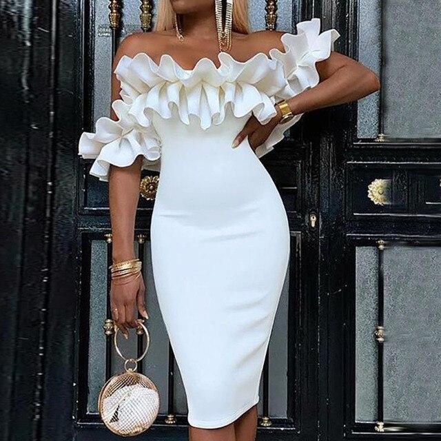 Off Shoulder Ruched Design Bodycon Dress 1