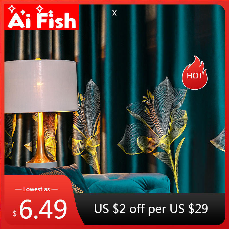 Satin Lily Embroidery Green Blackout Curtains for Bedroom Luxury Window Treatment Sheer Blue Tulle Living room Curtains X-ZH44#4