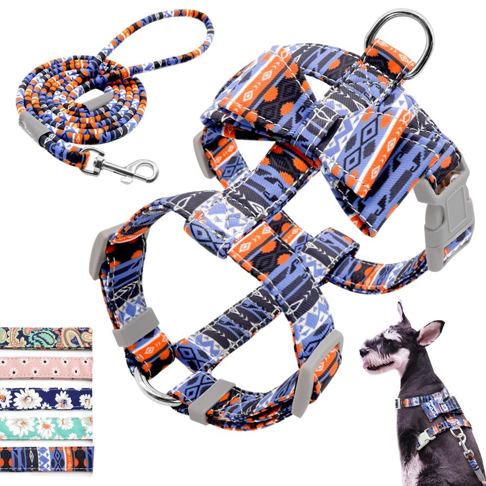 Adjustable Nylon Dog Harness Leash Set Pet Puppy Bowknot Harness Vest Walking Leash For Small Medium Dogs Chihuahua Arnes Perro